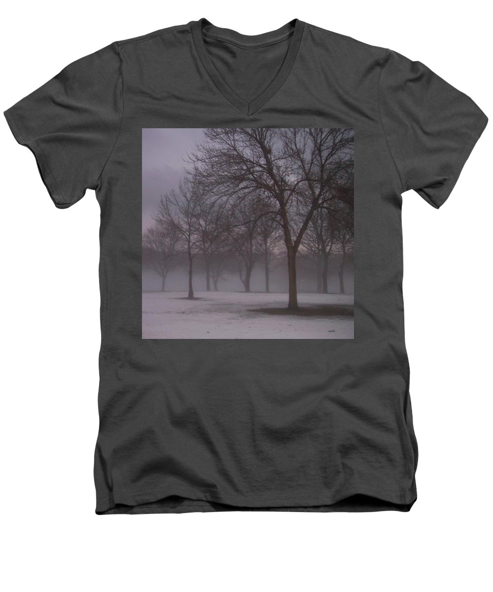 January Men's V-Neck T-Shirt featuring the photograph January Fog 4 by Anita Burgermeister