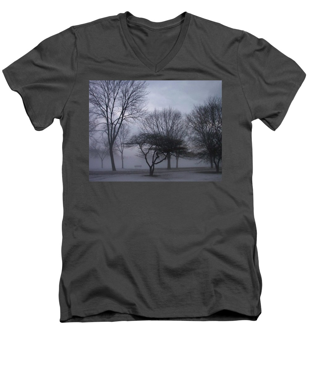 January Men's V-Neck T-Shirt featuring the photograph January Fog 6 by Anita Burgermeister