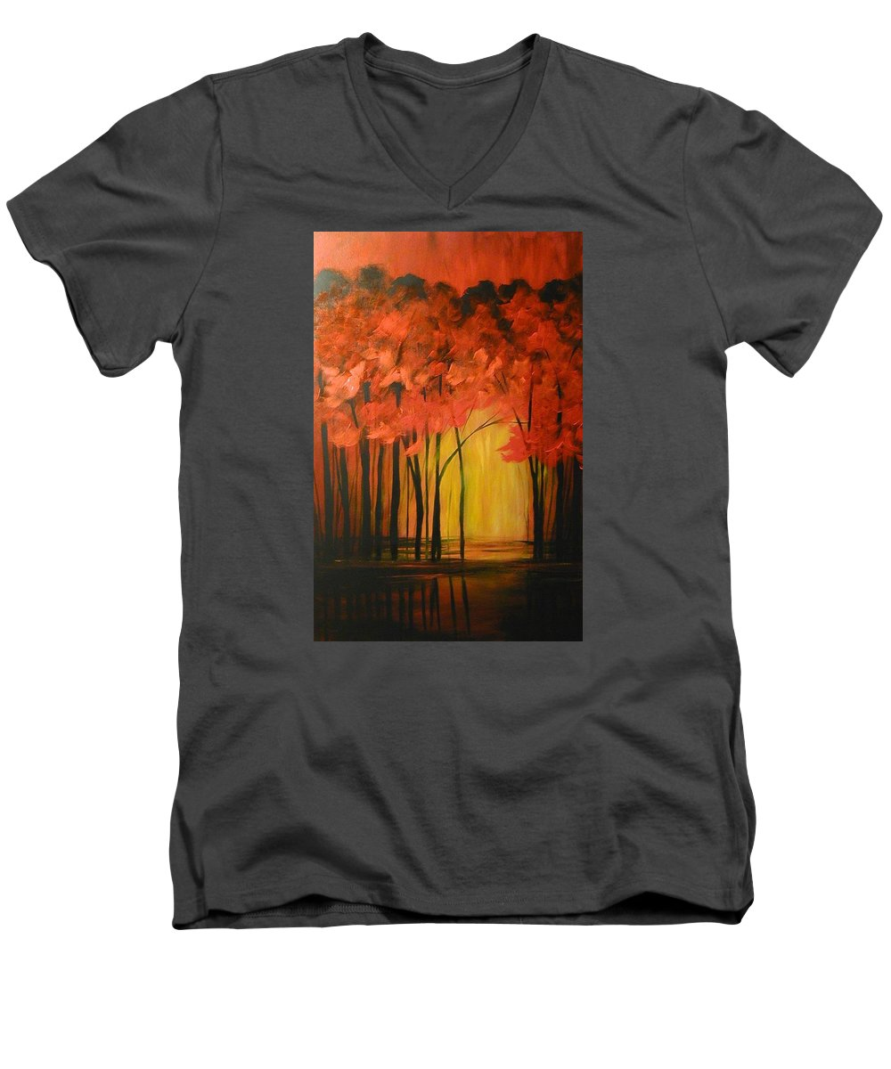 Abstract Men's V-Neck T-Shirt featuring the painting Japanese Forest by Sabina Surya Naya