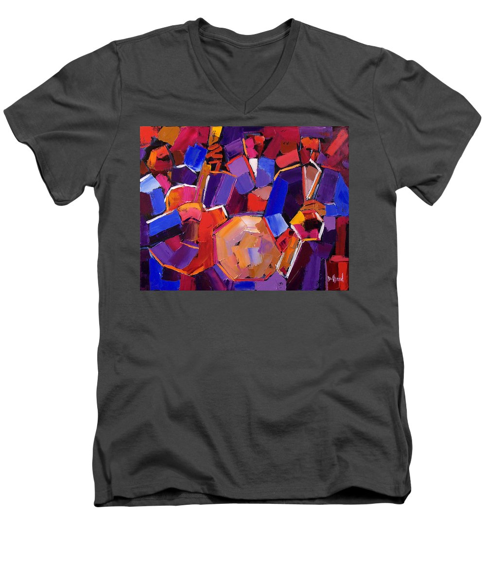 Jazz Men's V-Neck T-Shirt featuring the painting Jazz Angles Two by Debra Hurd