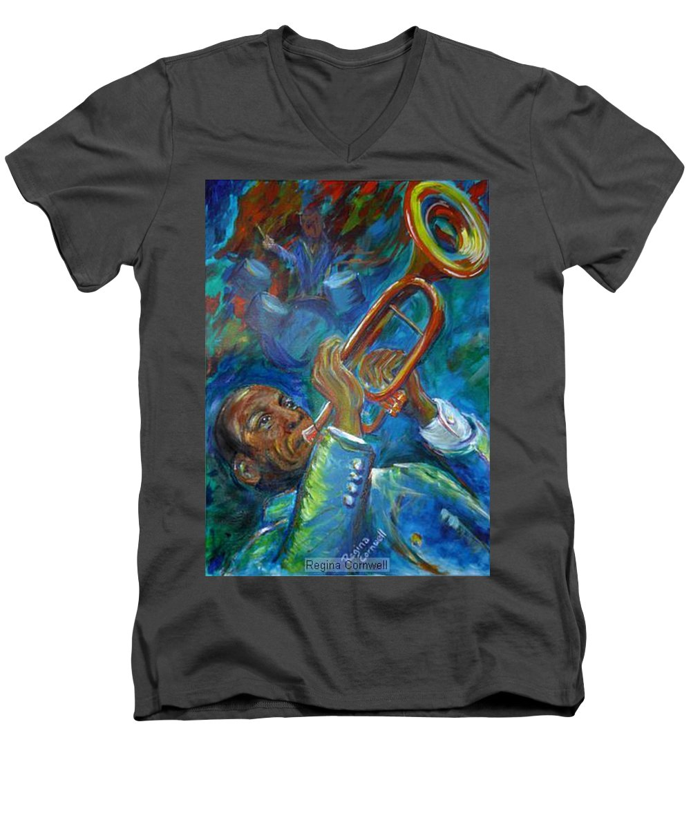Jazz Men's V-Neck T-Shirt featuring the painting Jazz Man by Regina Walsh