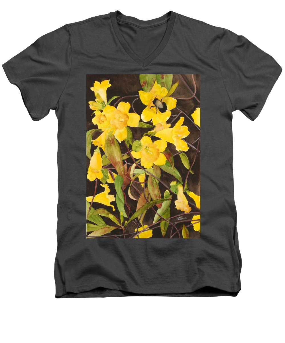 Flowers Men's V-Neck T-Shirt featuring the painting Jessamine Jungle by Jean Blackmer