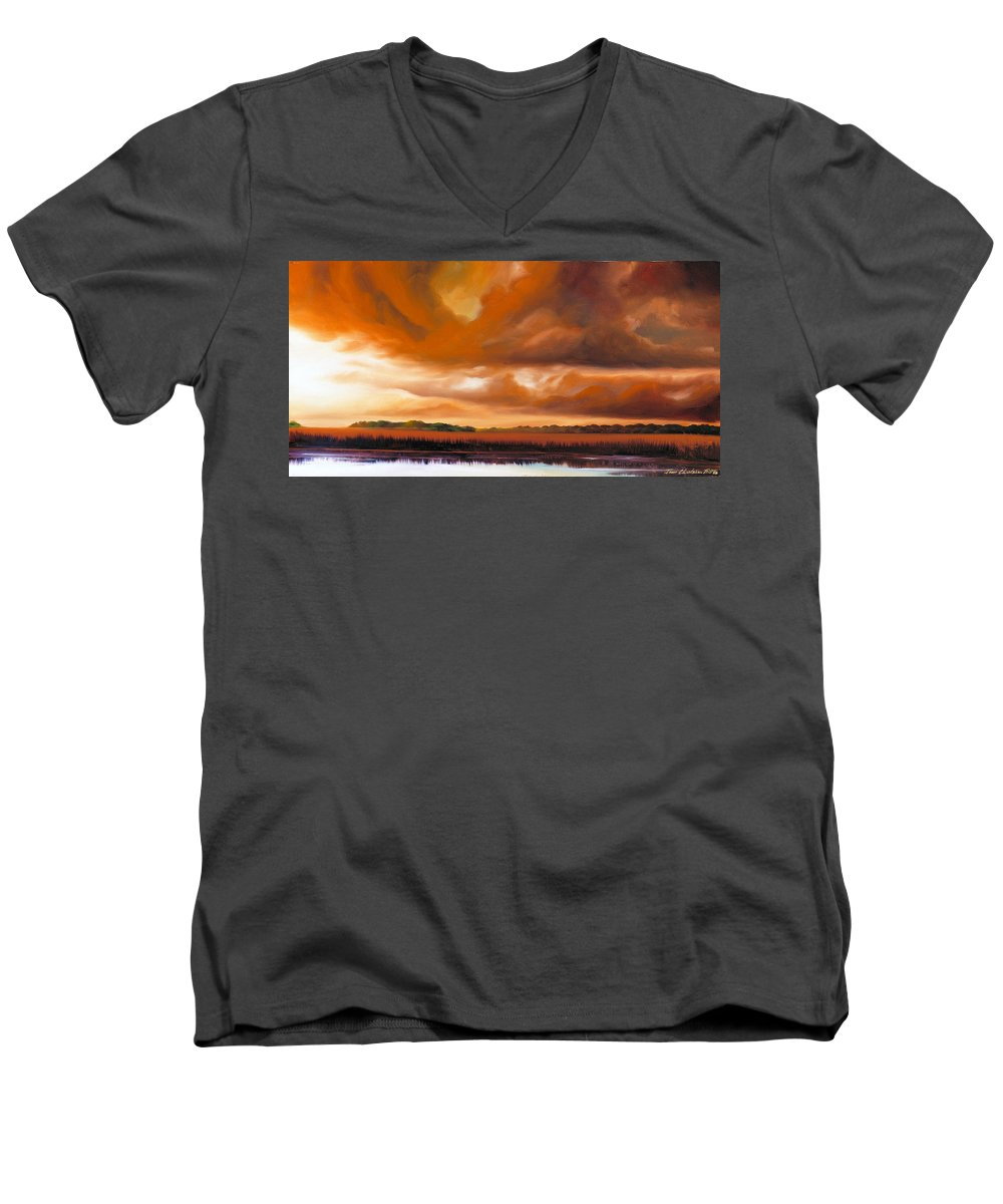 Clouds Men's V-Neck T-Shirt featuring the painting Jetties On The Shore by James Christopher Hill