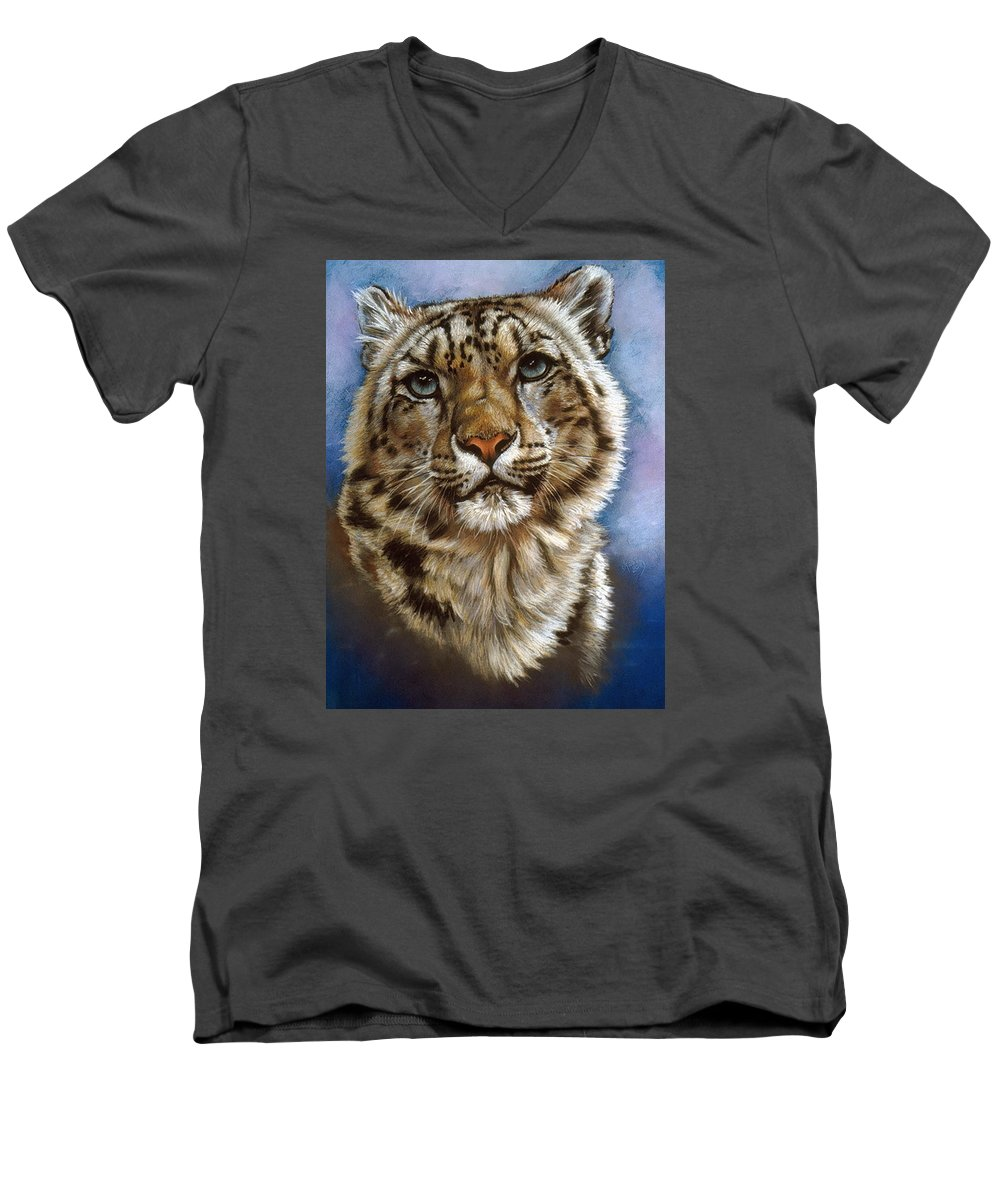 Snow Leopard Men's V-Neck T-Shirt featuring the pastel Jewel by Barbara Keith