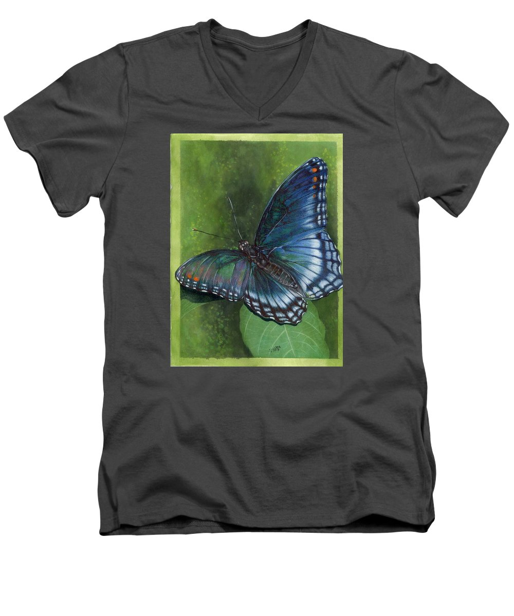 Insects Men's V-Neck T-Shirt featuring the mixed media Jewel Tones by Barbara Keith