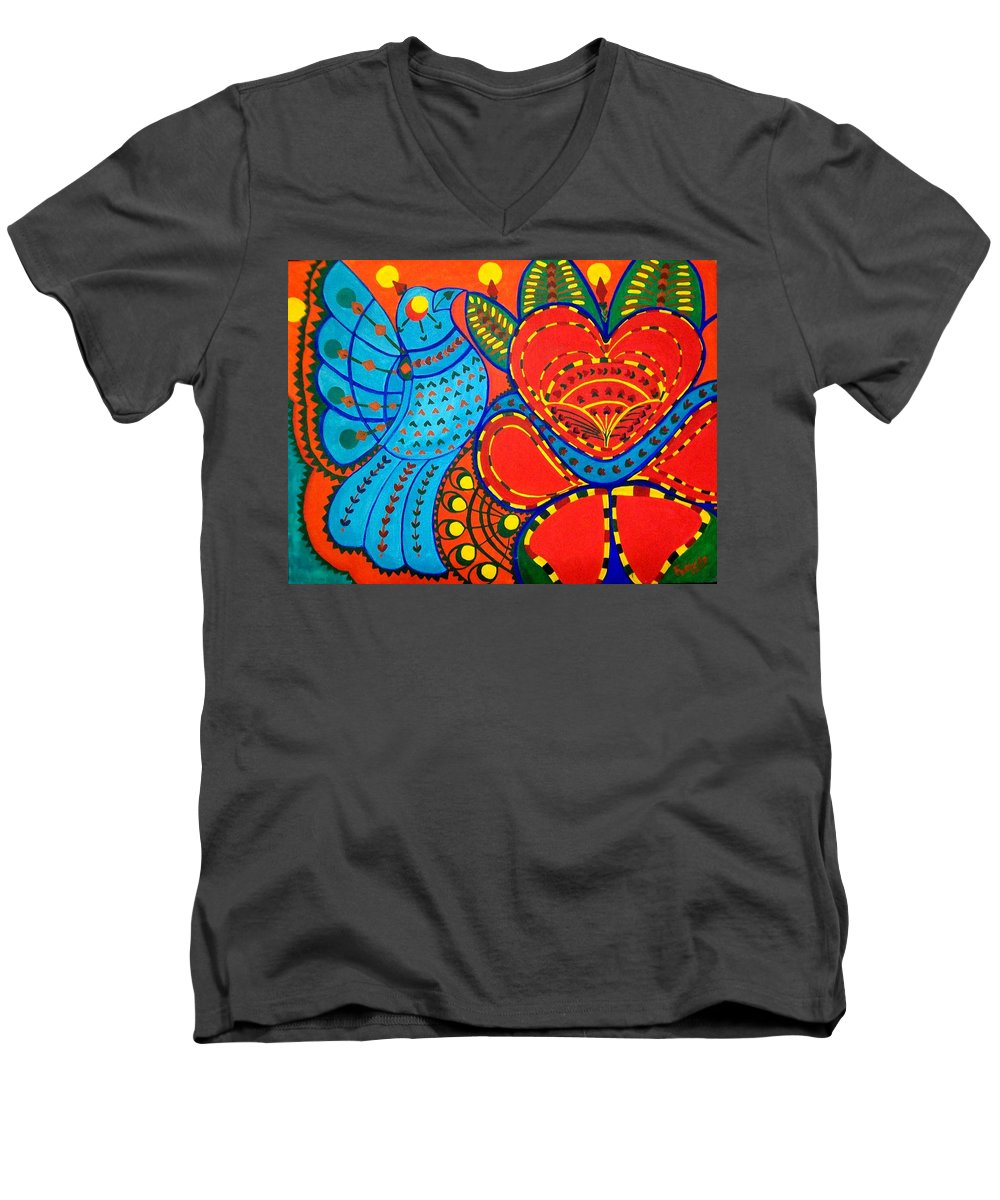 Contemporary Folk Men's V-Neck T-Shirt featuring the painting Jinga Bird - Jinga Bird Series by Fareeha Khawaja