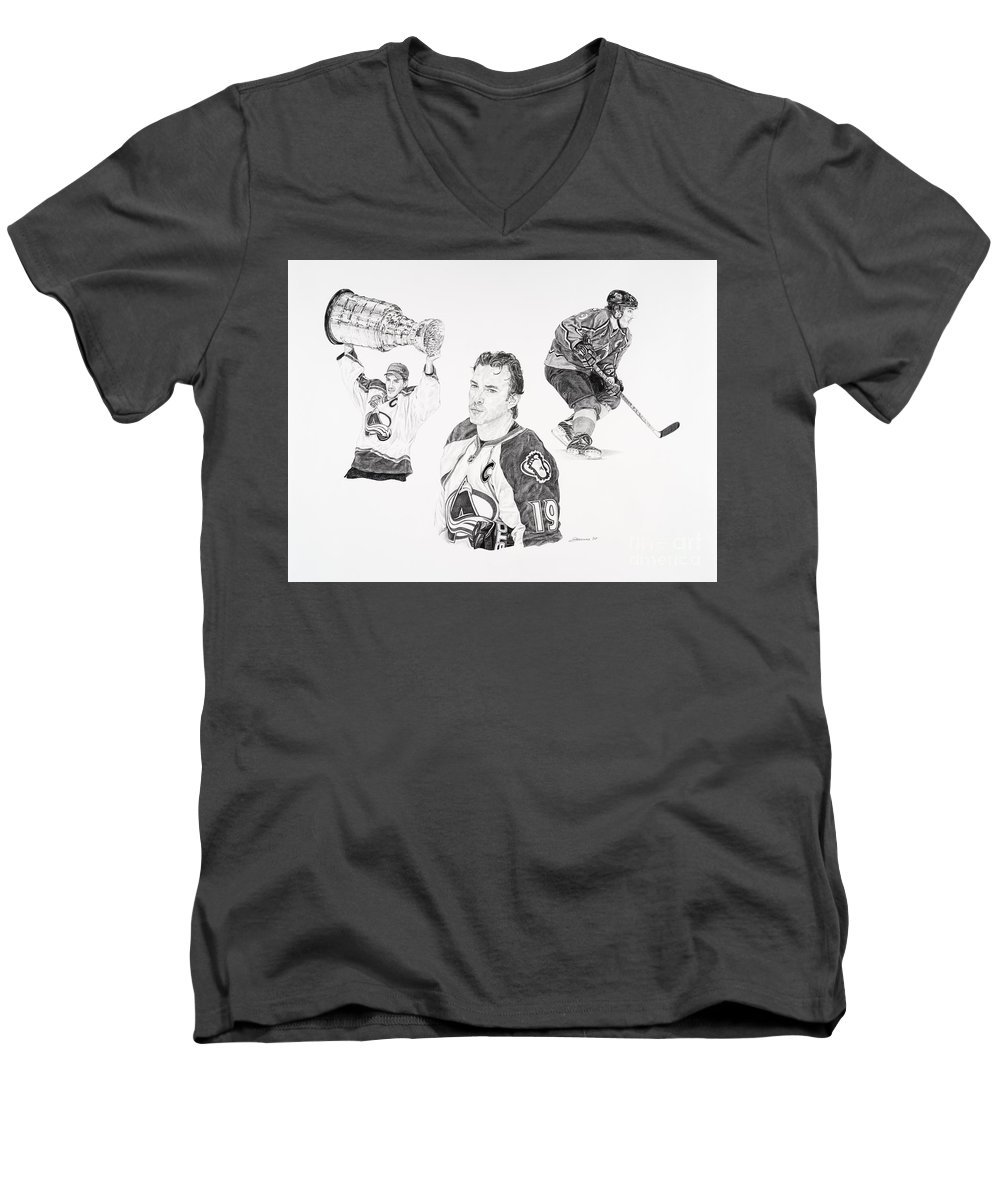 Hockey Men's V-Neck T-Shirt featuring the drawing Joe Sakic by Shawn Stallings