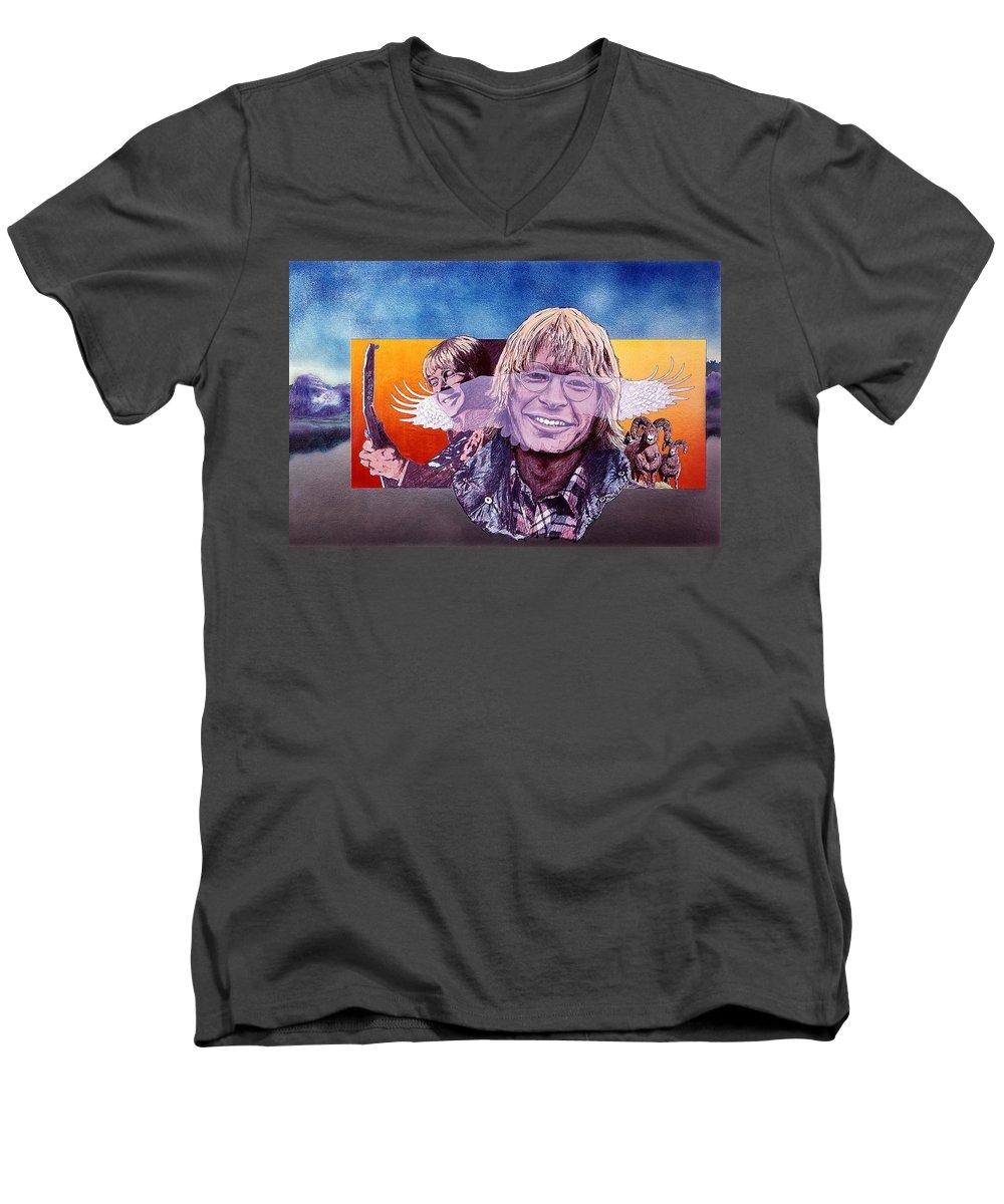 John Denver Men's V-Neck T-Shirt featuring the mixed media John Denver by John D Benson