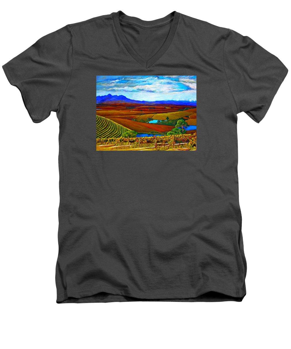 Vineyard Men's V-Neck T-Shirt featuring the painting Jordan Vineyard by Michael Durst