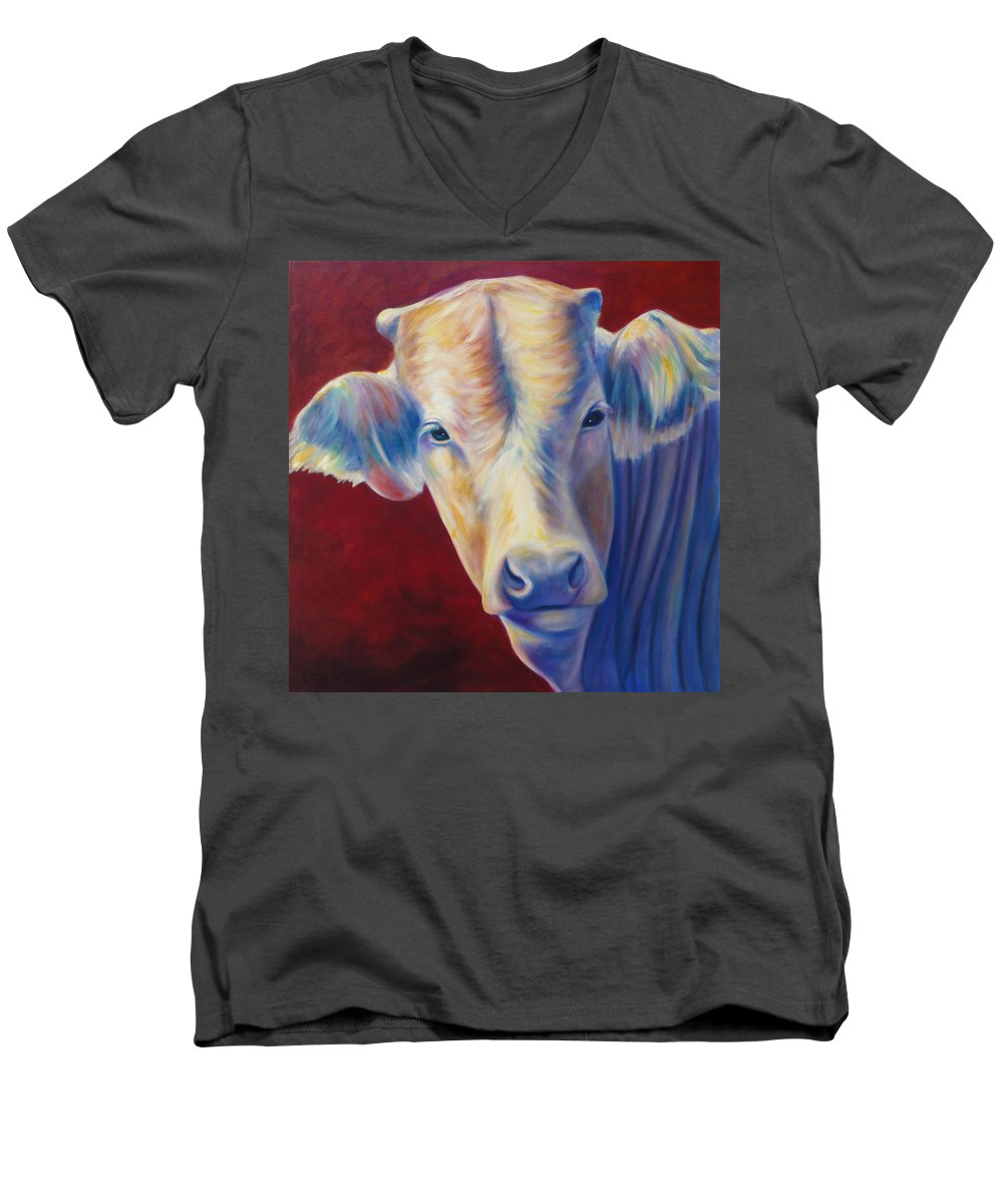 Bull Men's V-Neck T-Shirt featuring the painting Jorge by Shannon Grissom