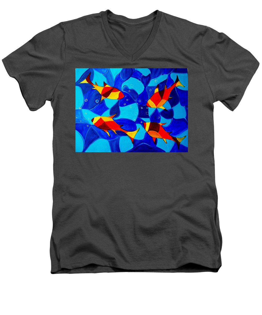 Abstract.acrylic.fish.bubbles.art.painting.modern.contemporary.popblue Red Bubbles Yellow Landscape Men's V-Neck T-Shirt featuring the painting Joy Fish Abstract by Manjiri Kanvinde