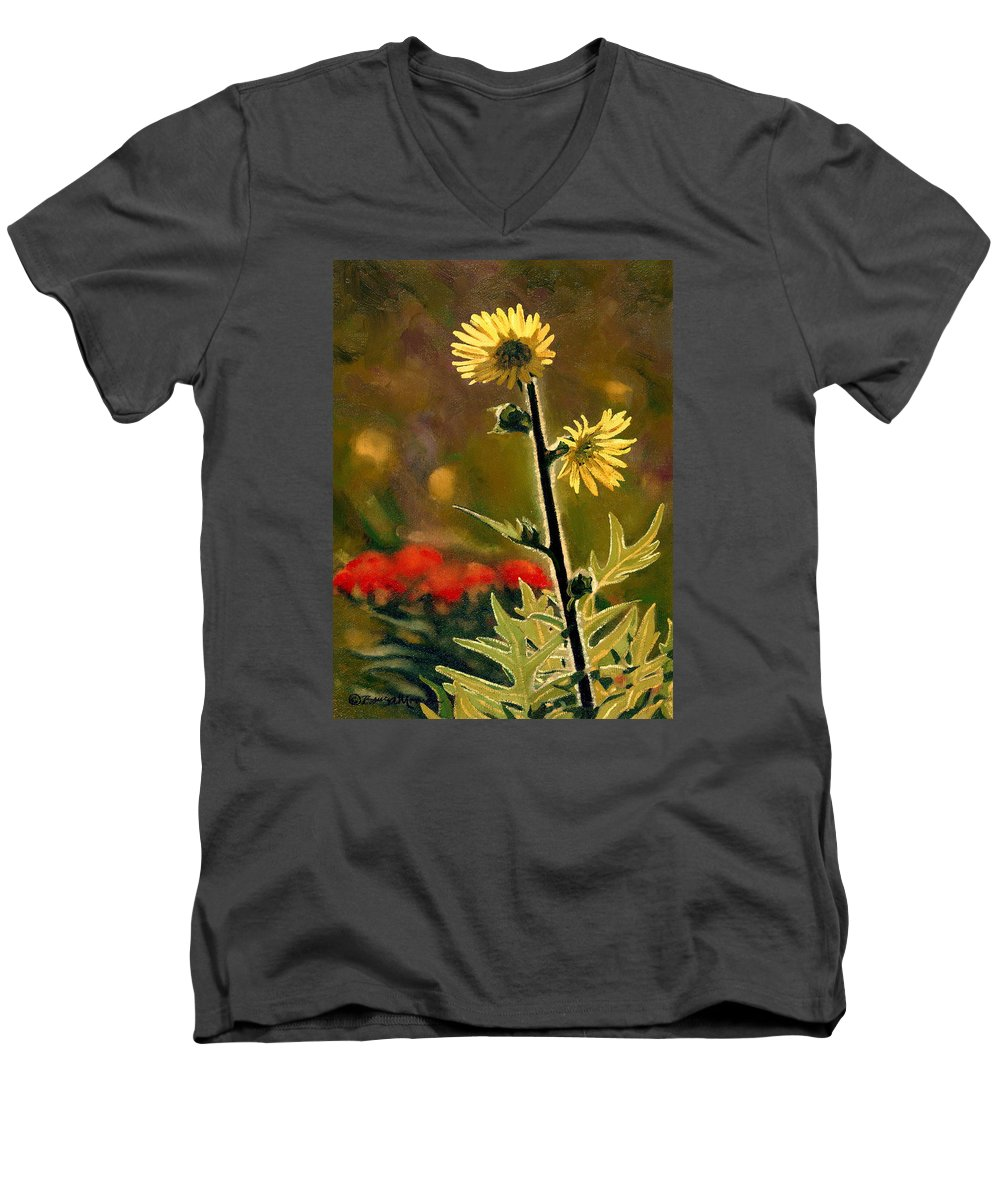 Prairie Flowers Men's V-Neck T-Shirt featuring the painting July Afternoon-compass Plant by Bruce Morrison