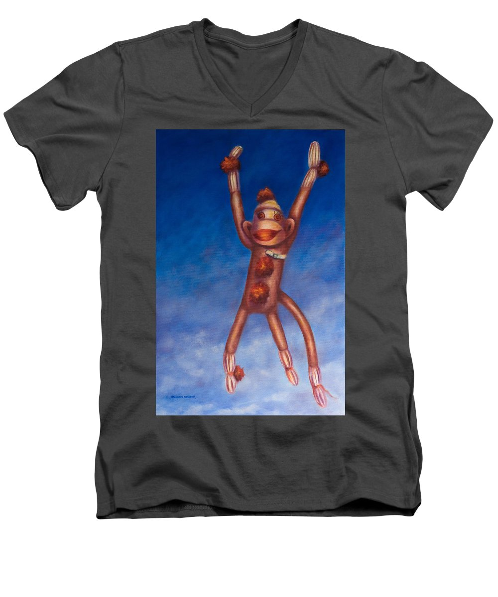 Children Men's V-Neck T-Shirt featuring the painting Jump For Joy by Shannon Grissom