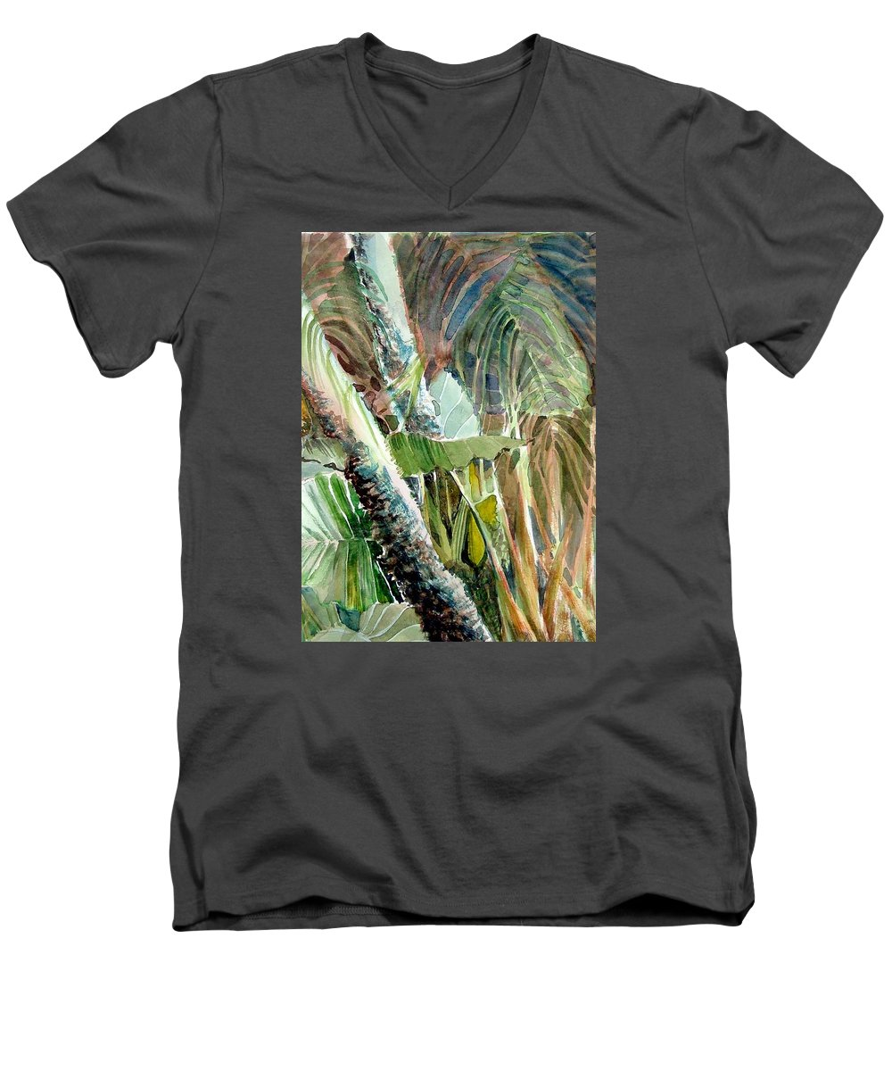 Palm Tree Men's V-Neck T-Shirt featuring the painting Jungle Light by Mindy Newman