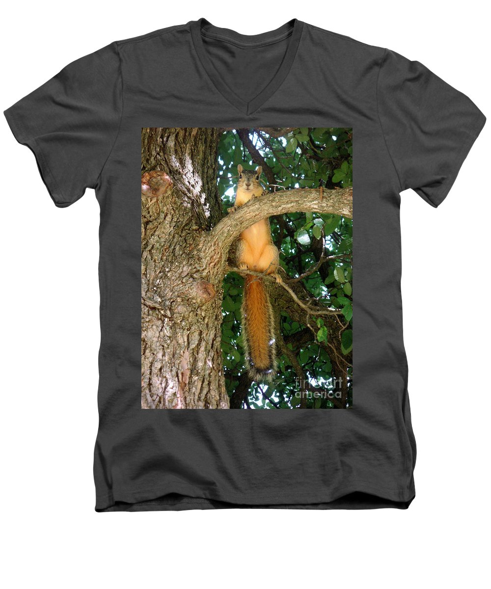 Nature Men's V-Neck T-Shirt featuring the photograph Just Hanging Around by Lucyna A M Green