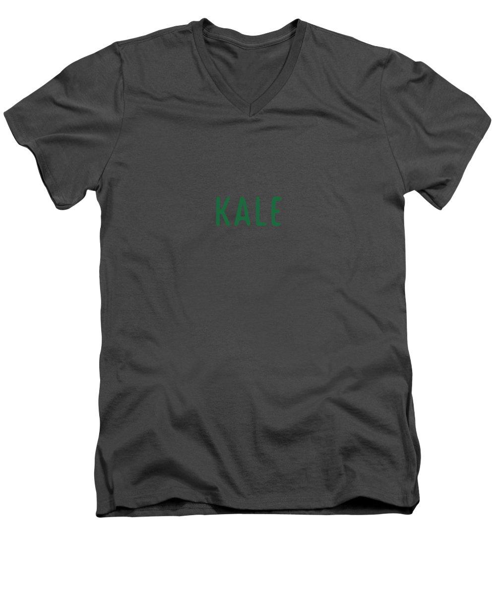 Text Men's V-Neck T-Shirt featuring the digital art Kale by Cortney Herron