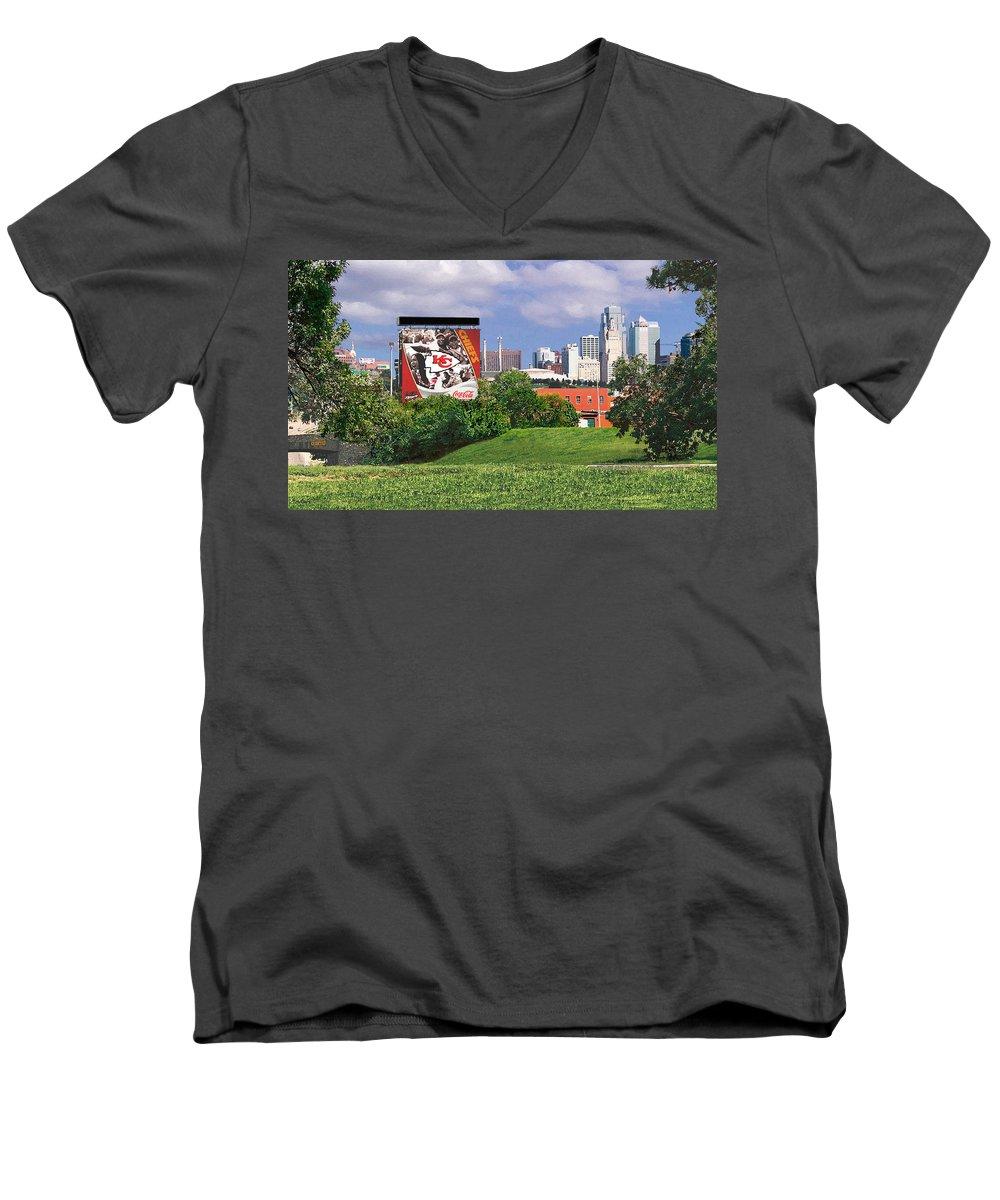 Landscape Men's V-Neck T-Shirt featuring the photograph Kansas City Sky Line by Steve Karol