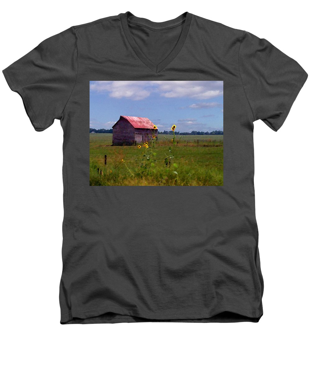Lanscape Men's V-Neck T-Shirt featuring the photograph Kansas Landscape by Steve Karol