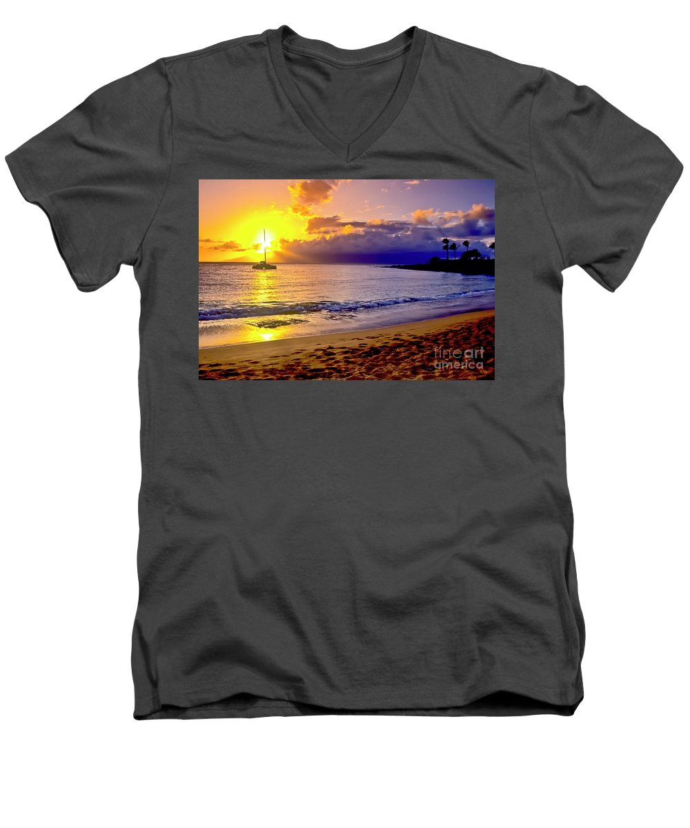 Scenics Men's V-Neck T-Shirt featuring the photograph Kapalua Bay Sunset by Jim Cazel