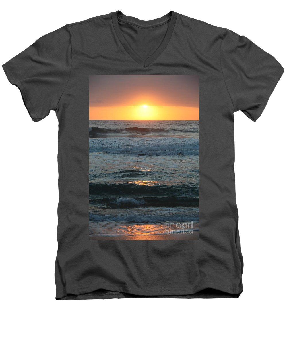 Kauai Men's V-Neck T-Shirt featuring the photograph Kauai Sunrise by Nadine Rippelmeyer