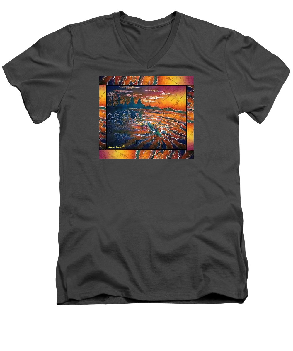 Kayak Men's V-Neck T-Shirt featuring the painting Kayaking Serenity - Bordered by Sue Duda