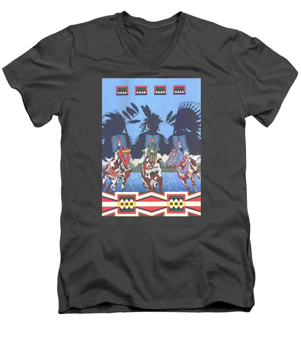 America Men's V-Neck T-Shirt featuring the painting Keepers Of The Law by Chholing Taha