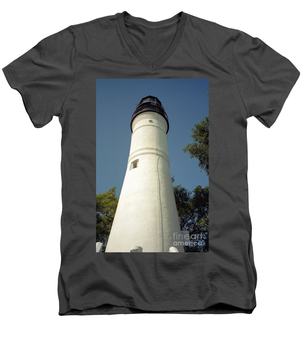 Lighthouses Men's V-Neck T-Shirt featuring the photograph Key West Lighthouse by Richard Rizzo