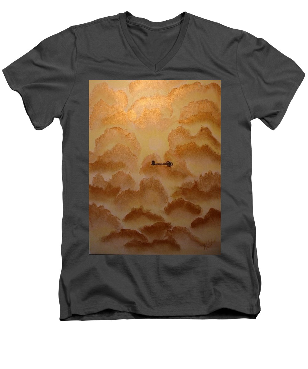 Gold Men's V-Neck T-Shirt featuring the painting Keys To The Kingdom by Laurie Kidd