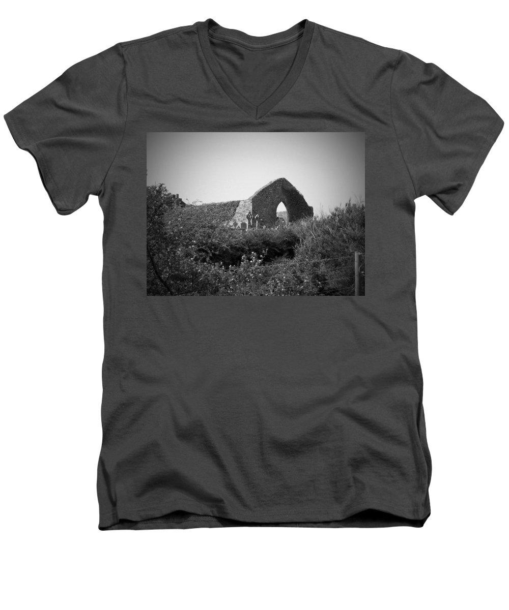 Irish Men's V-Neck T-Shirt featuring the photograph Kilmanaheen Church Ruins Ennistymon Ireland by Teresa Mucha