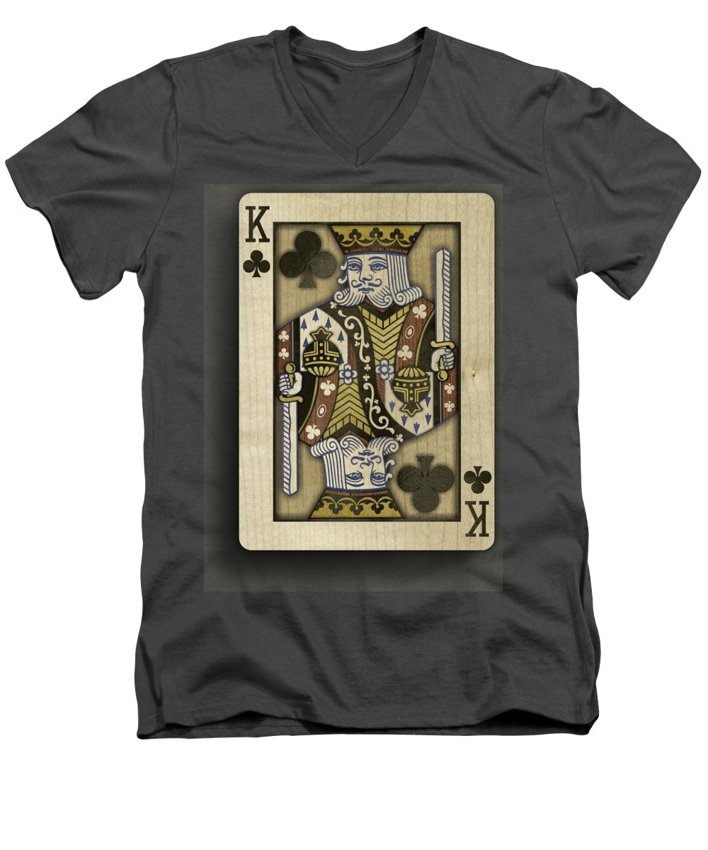 Game Men's V-Neck T-Shirt featuring the photograph King of Clubs in Wood by YoPedro