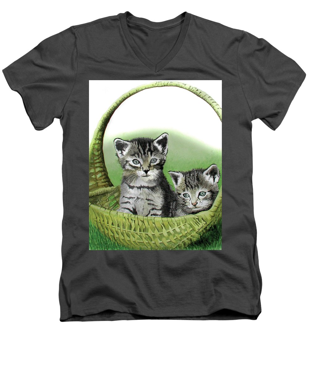 Cat Men's V-Neck T-Shirt featuring the painting Kitty Caddy by Ferrel Cordle