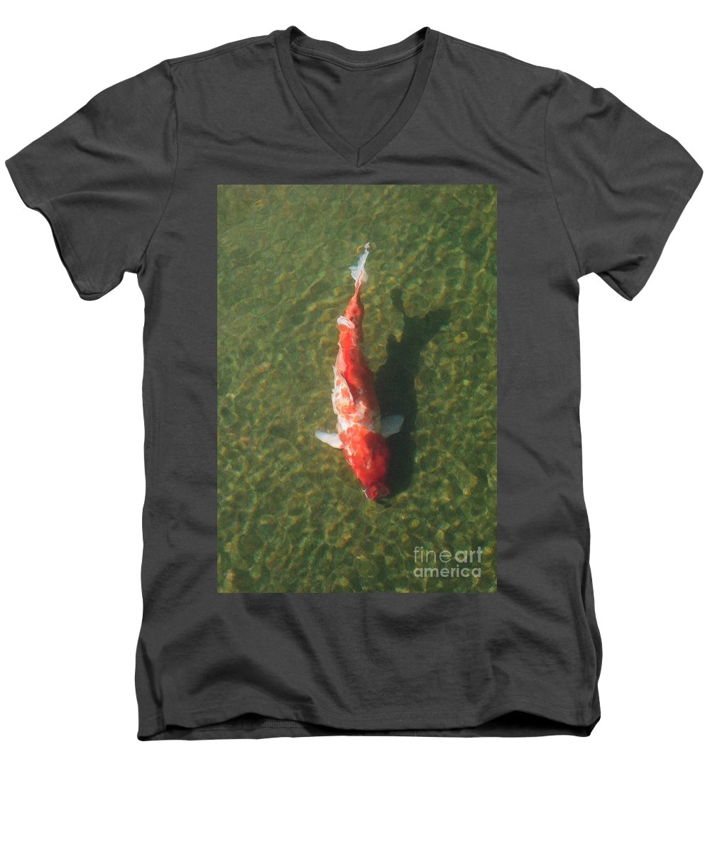 Koi Men's V-Neck T-Shirt featuring the photograph Koi by Dean Triolo