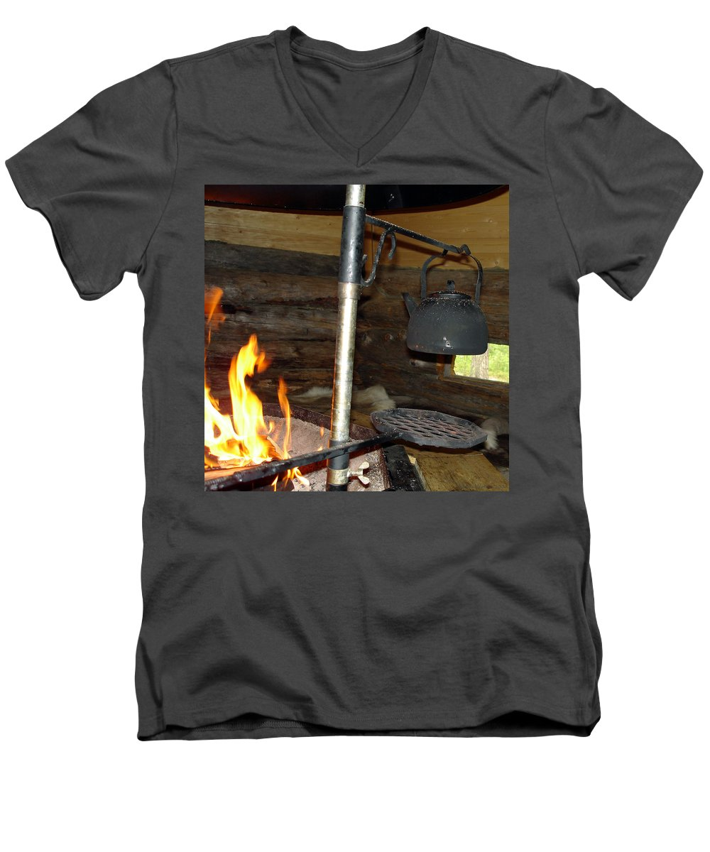 Kota Men's V-Neck T-Shirt featuring the photograph Kota Kitchen In Lapland by Merja Waters