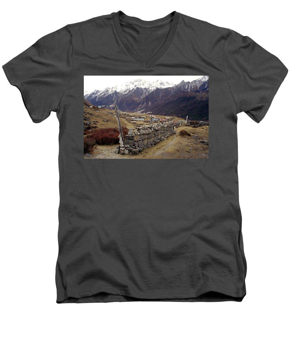 Langtang Men's V-Neck T-Shirt featuring the photograph Kyanjin Gompa by Patrick Klauss