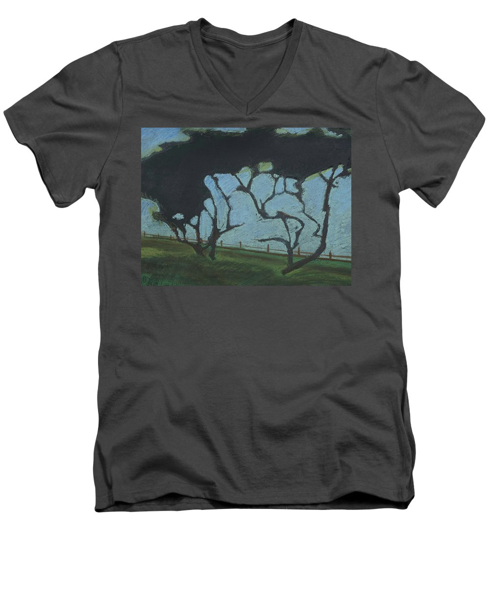 Contemporary Tree Landscape Men's V-Neck T-Shirt featuring the mixed media La Jolla IIi by Leah Tomaino
