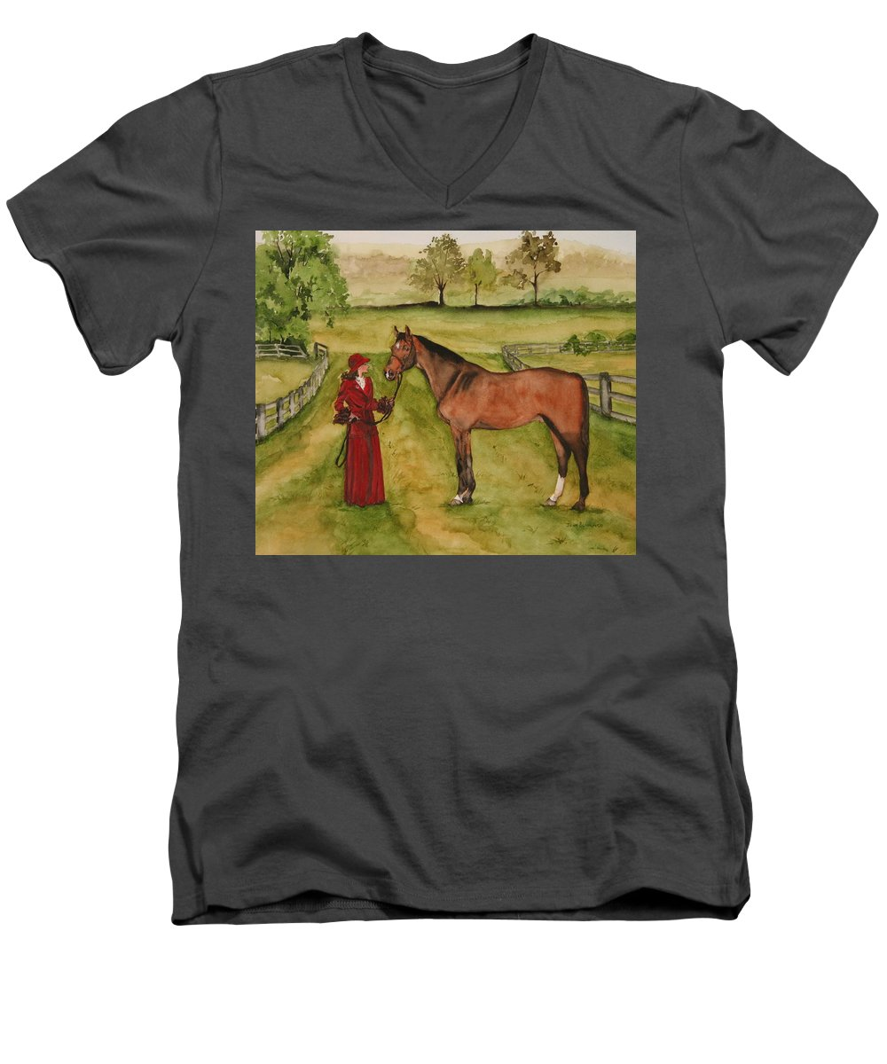 Horse Men's V-Neck T-Shirt featuring the painting Lady And Horse by Jean Blackmer