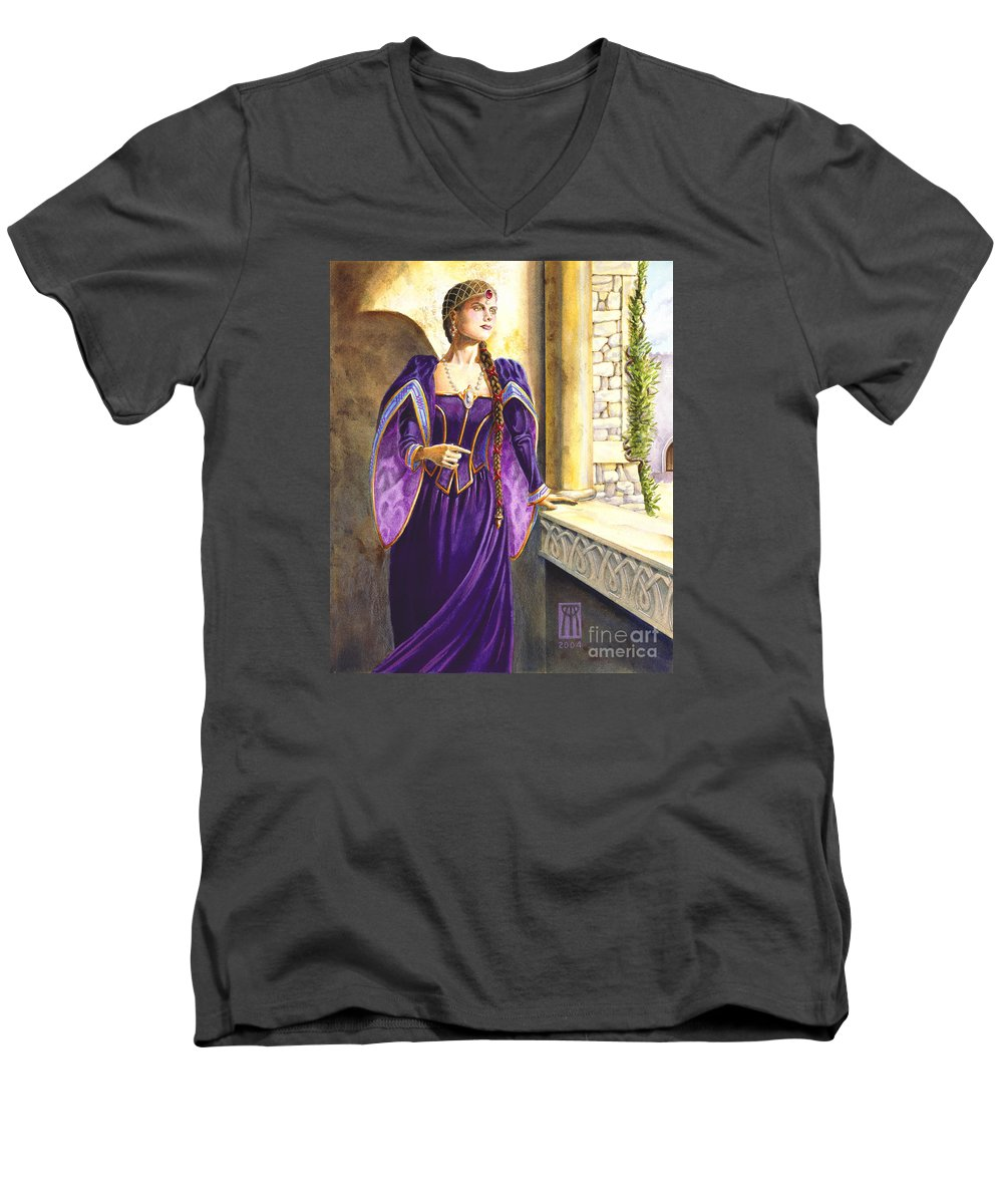 Camelot Men's V-Neck T-Shirt featuring the painting Lady Ettard by Melissa A Benson