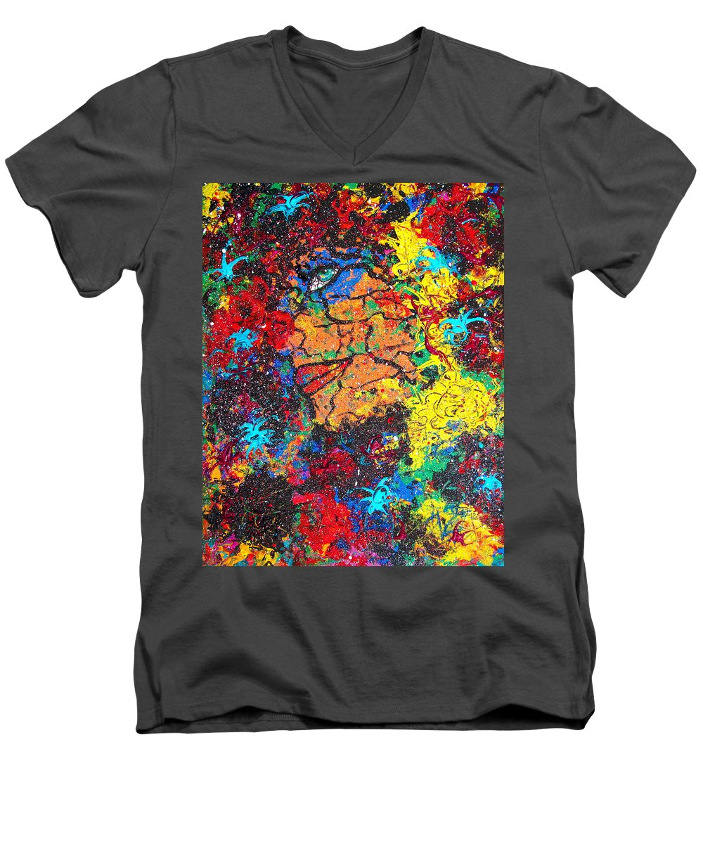 Woman Men's V-Neck T-Shirt featuring the painting Lady Of Mystery by Natalie Holland