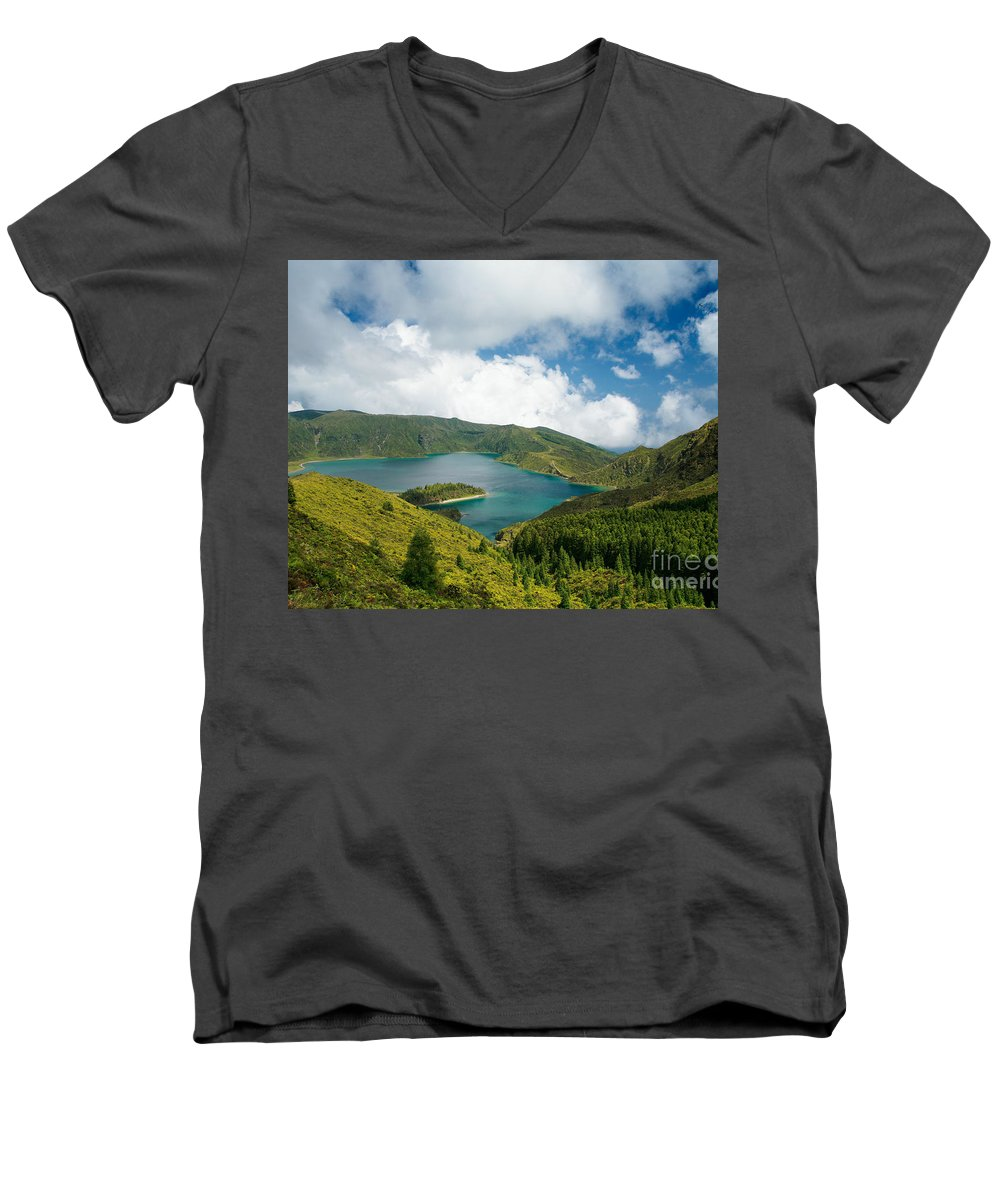 Lagoa Do Fogo Men's V-Neck T-Shirt featuring the photograph Lagoa Do Fogo by Gaspar Avila