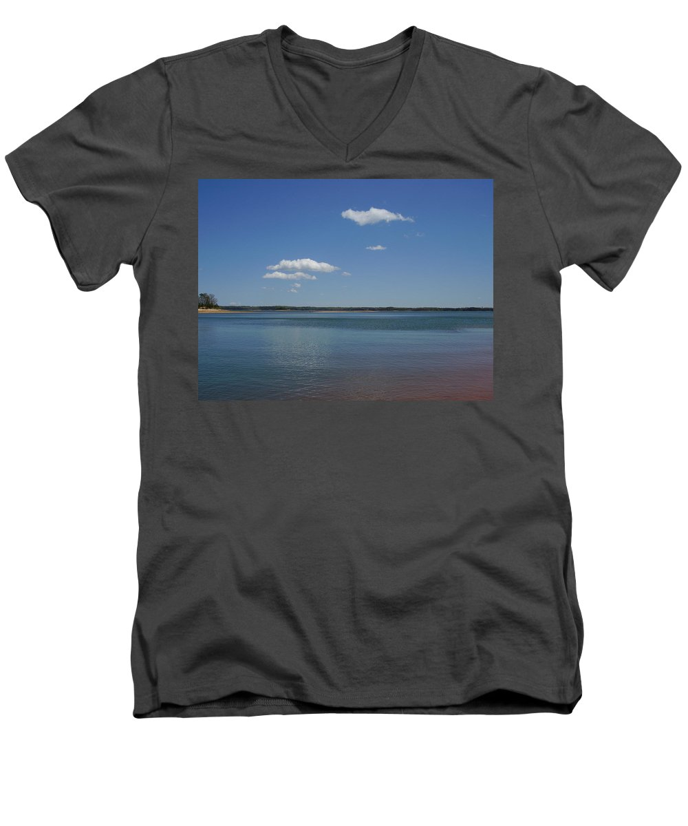 Lake Hartwell Men's V-Neck T-Shirt featuring the photograph Lake Hartwell by Flavia Westerwelle