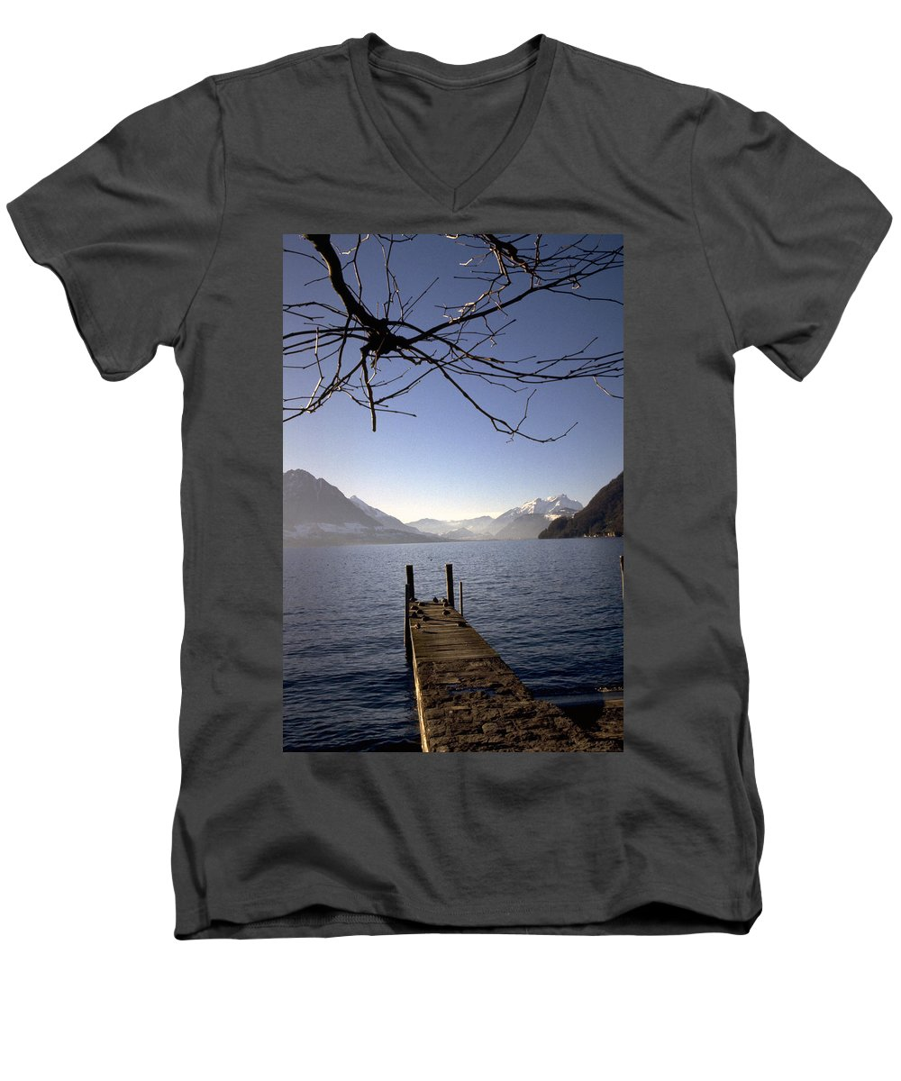 Lake Lucerne Men's V-Neck T-Shirt featuring the photograph Lake Lucerne by Flavia Westerwelle