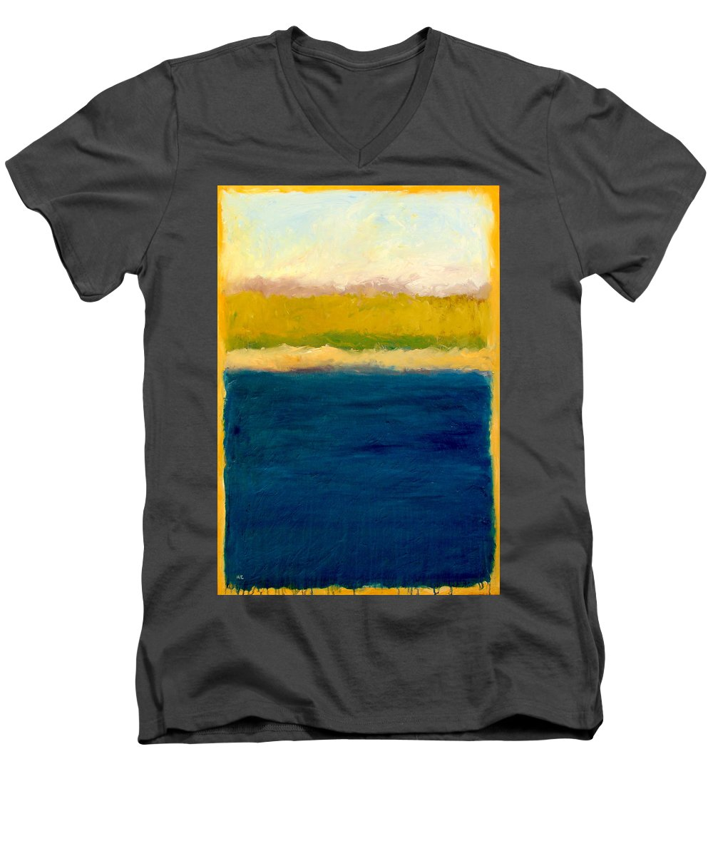Dunes Men's V-Neck T-Shirt featuring the painting Lake Michigan Beach Abstracted by Michelle Calkins