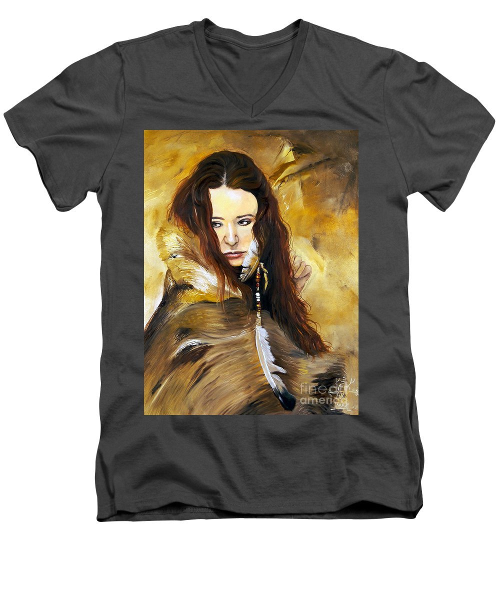 Southwest Art Men's V-Neck T-Shirt featuring the painting Lament by J W Baker
