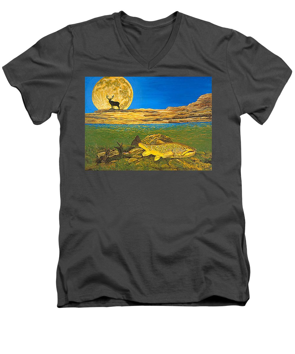 Artwork Men's V-Neck T-Shirt featuring the painting Landscape Art Fish Art Brown Trout Timing Bull Elk Full Moon Nature Contemporary Modern Decor by Baslee Troutman