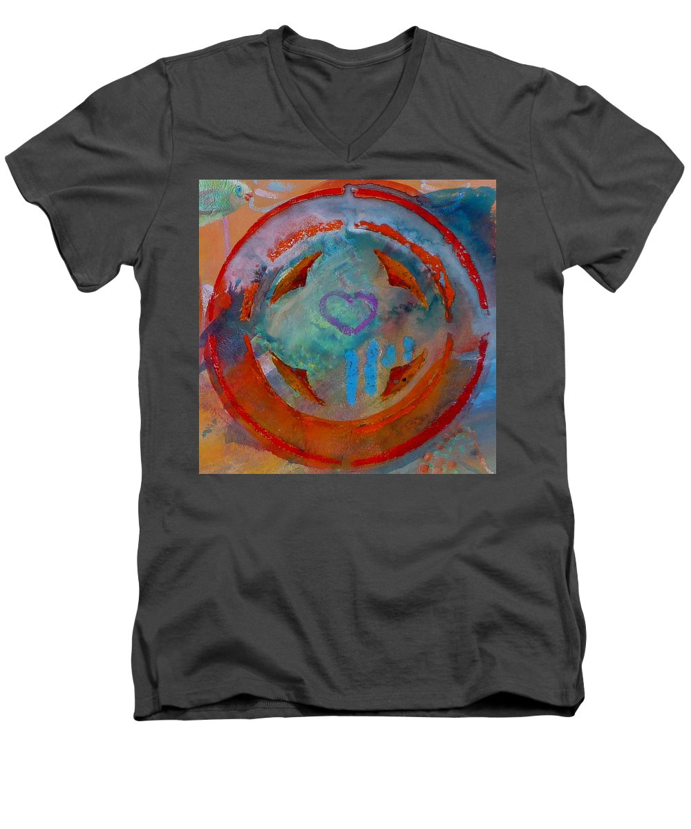 Love Men's V-Neck T-Shirt featuring the painting Landscape Seascape by Charles Stuart