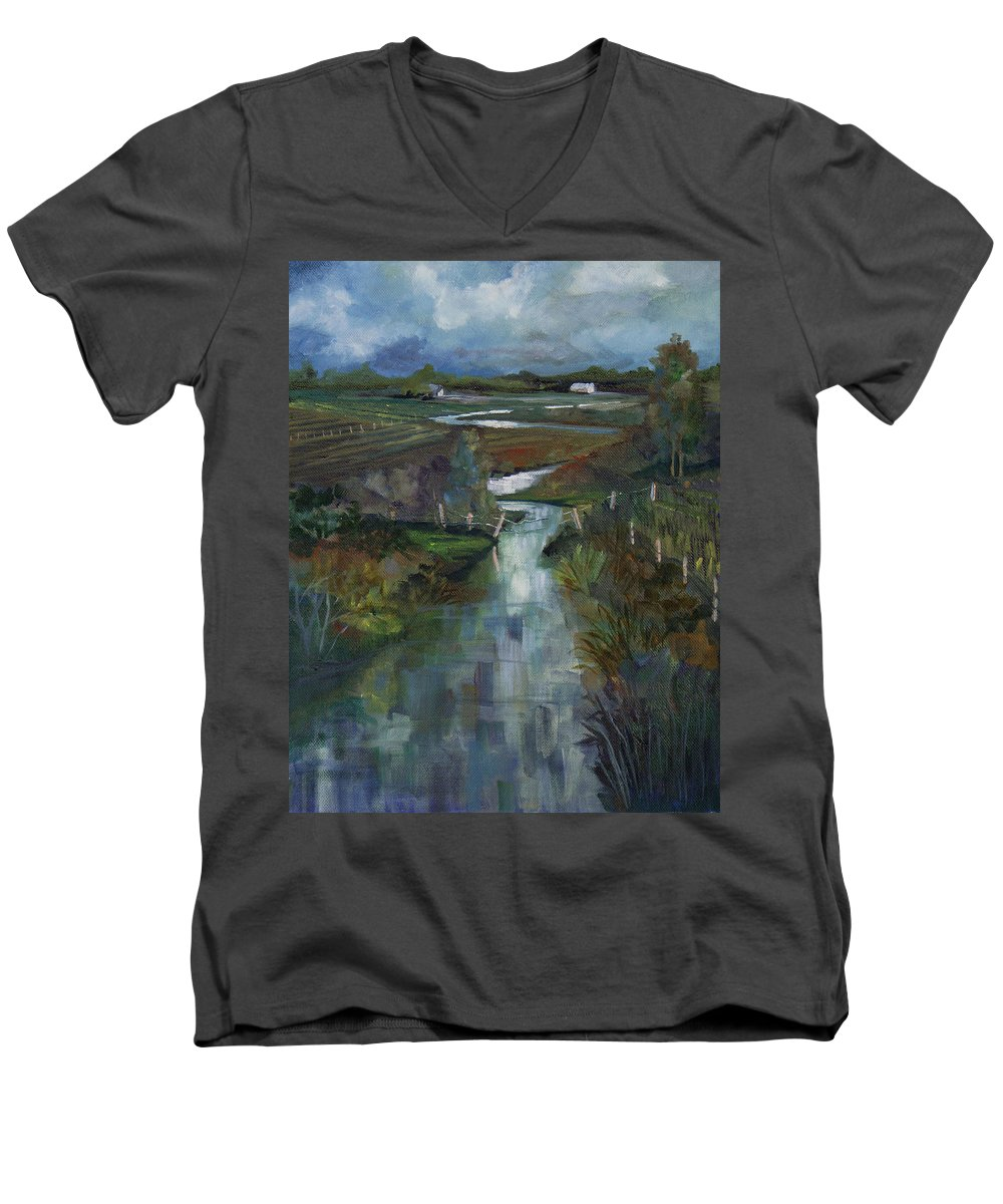 River Men's V-Neck T-Shirt featuring the painting Laramie River Valley by Heather Coen