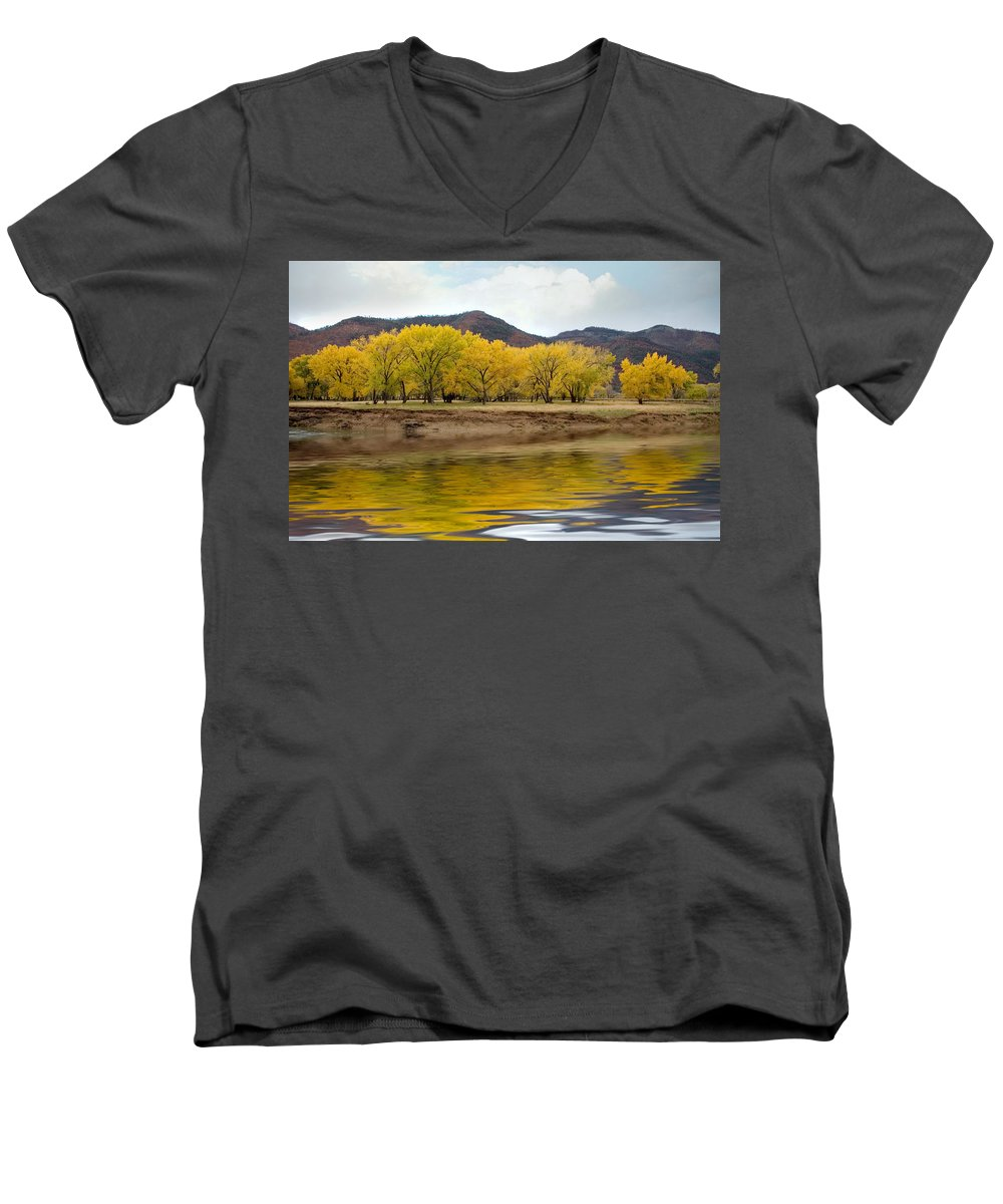 River Men's V-Neck T-Shirt featuring the photograph Las Animas Fall by Jerry McElroy