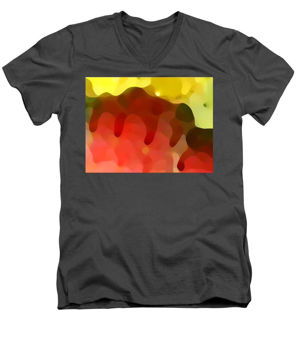 Abstract Men's V-Neck T-Shirt featuring the painting Las Tunas Ridge by Amy Vangsgard