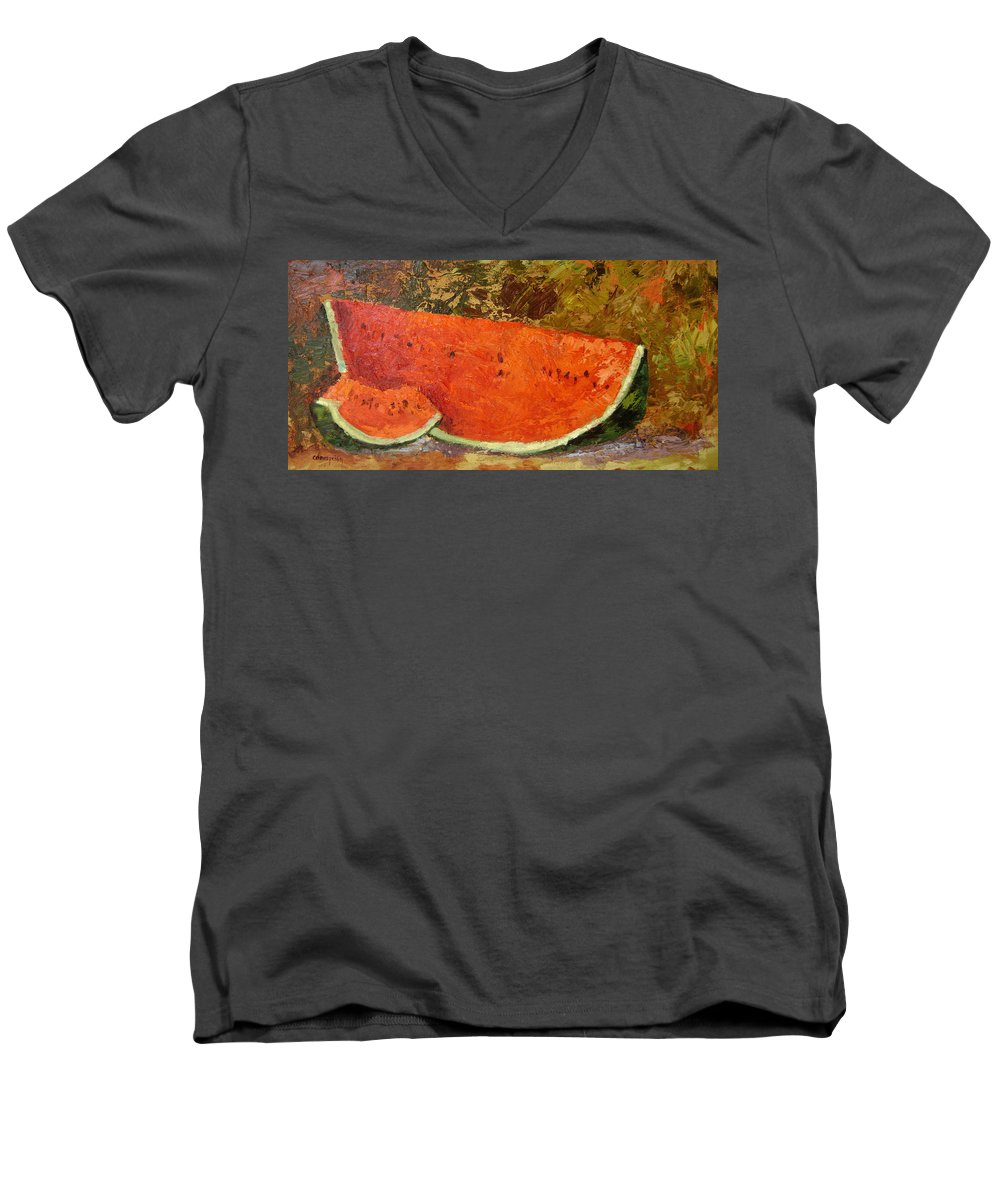 Watermelon Men's V-Neck T-Shirt featuring the painting Last Of Summer by Ginger Concepcion