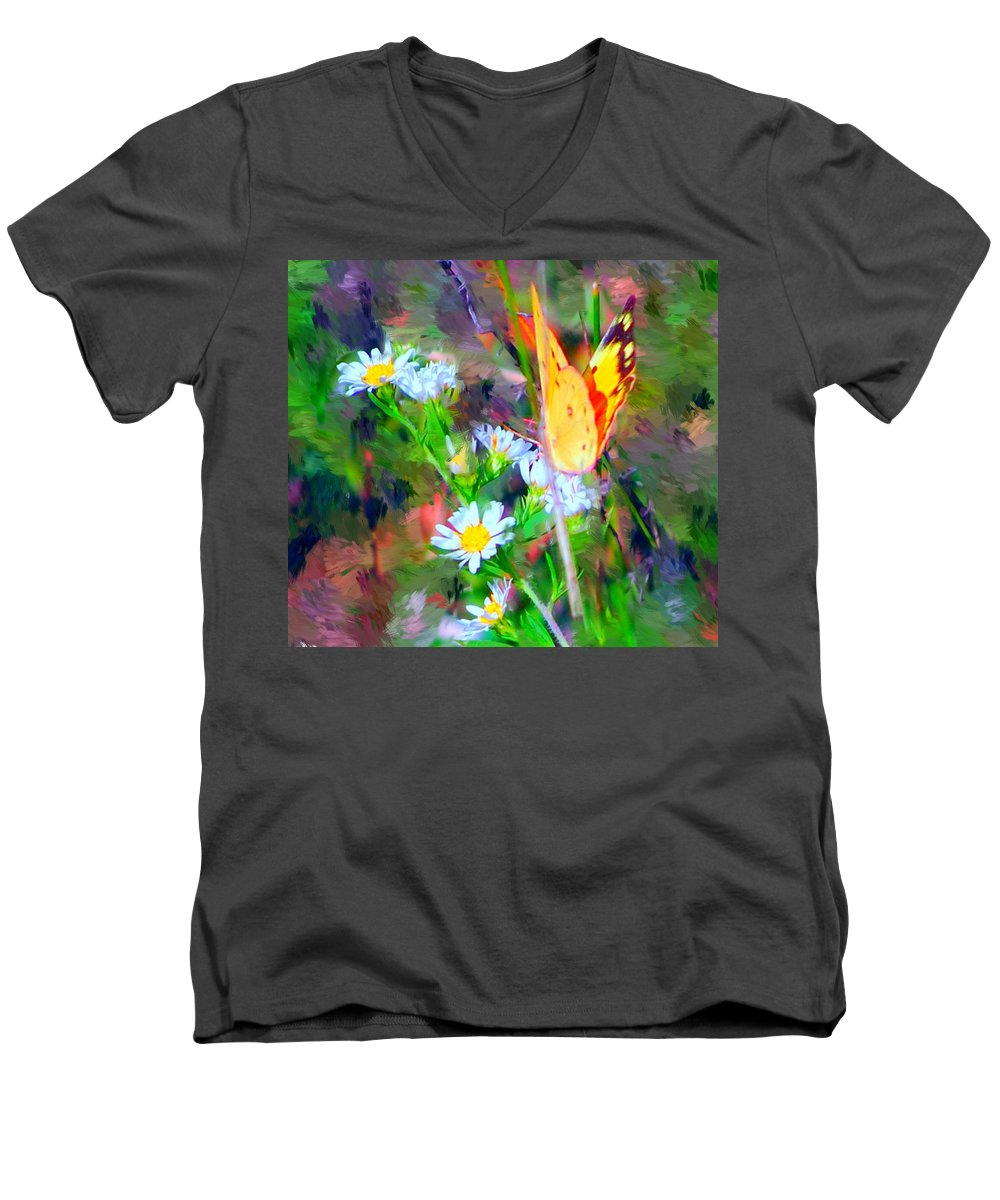 Landscape Men's V-Neck T-Shirt featuring the painting Last Of The Season by David Lane